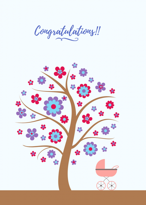 Congratulations New Baby Tree Card