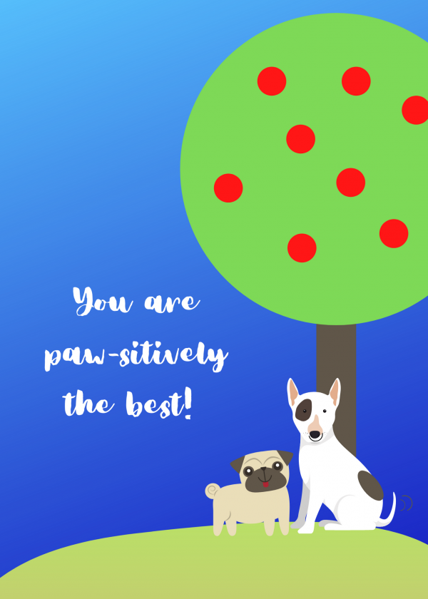 pawsitively the best Tree Card