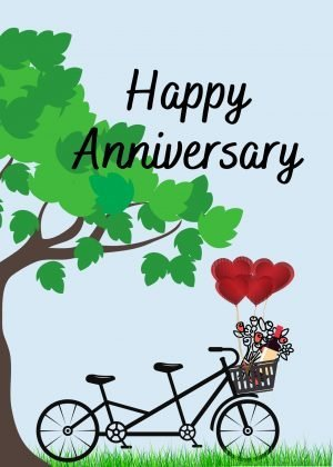 anniversary bicycle ecard plants a tree